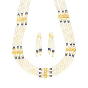 Jagdamba,Avsar,Lime,Valentine Women's Clothing - BLUE STONE PEARL NECKLACE BY SRI JAGDAMBA PEARLS (JPJUN-18-445 )