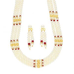 jagdamba,avsar,lime,kiara,hoop,estoss Necklace Sets (Imitation) - RED STONE PEARL NECKLACE BY SRI JAGDAMBA PEARLS (JPJUN-18-446 )