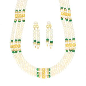 Jagdamba,Avsar,Lime,Valentine,Gili Women's Clothing - GREEN COLOR STONE PEARL NECKLACE BY SRI JAGDAMBA PEARLS (JPJUN-18-447 )