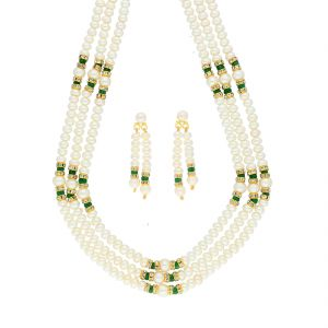 Jagdamba,Avsar,Lime Women's Clothing - 3 LINE GREEN STONE PEARL NECKLACE BY SRI JAGDAMBA PEARLS (JPJUN-18-448 )