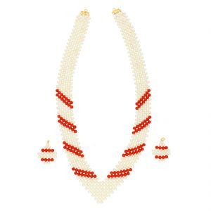 Cross Coral Jaali Pearls Necklace By Sri Jagdamba Pearls (jpjun-18-86 )