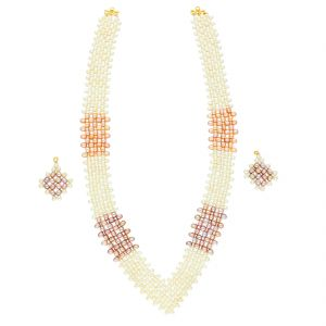 Mat Design Jaali Pearls Necklace By Sri Jagdamba Pearls (jpjun-18-94 )