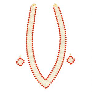 Coral Jaali Necklace By Sri Jagdamba Pearls (jpjun-18-98 )