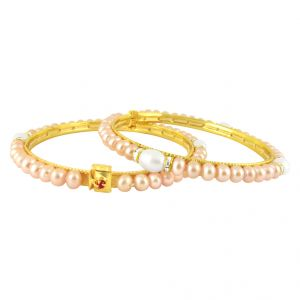 Jagdamba,Avsar,Lime,Valentine,Surat Diamonds Women's Clothing - Sri Jagdamba Pearls Erotic Pearl Bangles ( JPMA-3-374_2018 )