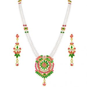lime,surat tex,soie,jagdamba,sangini Pearl Jewellery Sets - JPEARLS COLOURFUL PEARL SET -JPMA-3-382