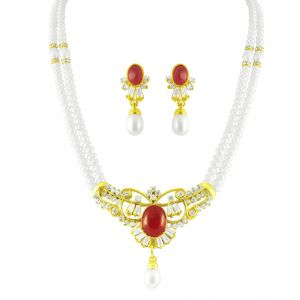 Triveni,Pick Pocket,Shonaya,Lime,Jpearls Pearl Pendants - JPEARLS GORGEOUS RED PEARL PENDANT SET