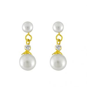 Sparkles,Jagdamba,Platinum Women's Clothing - Jpearls  White Beauty  Pearl  Earrings