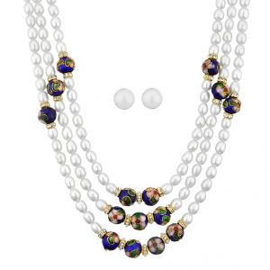 vipul,port,fasense,triveni,jagdamba,sangini,cloe,Jpearls Pearl Necklaces - 3 Line Traditional Pearl Necklace