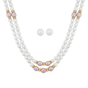 jagdamba,avsar,lime Pearl Necklaces - 2 Line Angel Pearl Necklace