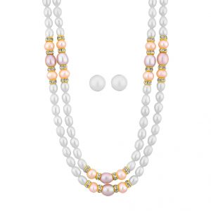 Jagdamba,Avsar,Lime Women's Clothing - AAA Quality 2 Line Pearl Necklace