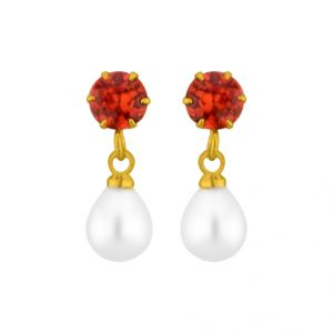 Triveni,Platinum,Jagdamba,Asmi,Kalazone,Pick Pocket,La Intimo Pearl Earrings - Jpearls Redstone Pearl Earrings