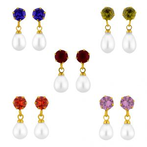 Triveni,Platinum,Jagdamba,Pick Pocket,Surat Diamonds,Jharjhar Women's Clothing - Sri Jagdamba Pearls Colourful Earrings Combo ( JPMR-15-035C_2018 )