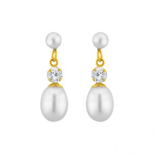 triveni,tng,jagdamba,see more,kalazone,sangini,bikaw Earrings (Imititation) - Sri Jagdamba Pearls White Pearl Hangings ( JPMR-15-041 )