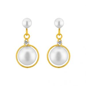 kiara,sparkles,jagdamba,triveni,platinum,fasense,flora,tng Earrings (Imititation) - Sri Jagdamba Pearls White Pearl Hangings ( JPMR-15-044 )