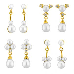 Sri Jagdamba Pearls Classic Pearl Earrings Combo ( Jpmr-15-054c_2018 )
