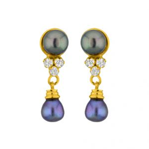 Jpearls Grey Drop Pearl Earrings