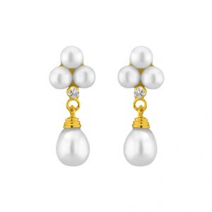 Jpearls White Hangings Pearl Earrings