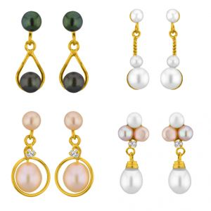 Sri Jagdamba Pearls Set Of 4 Pearl Earrings Combo ( Jpmr-15-062c )