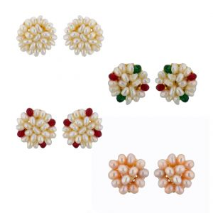Sri Jagdamba Pearls Flower Earrings Combo ( Jpmr-15-065c )