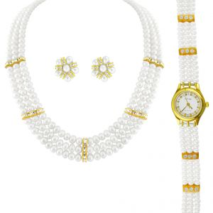 Jagdamba Women's Clothing - jpearls 3 string pearl necklace with a watch