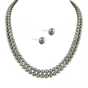 hoop,unimod,kiara,oviya,bikaw,sangini,kaamastra,jagdamba Pearl Jewellery Sets - NEW FULL GREY 2 STRING PEARLS SET