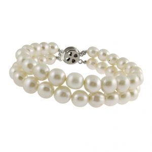 jagdamba,Port Fashion, Imitation Jewellery - Sri Jagdamba Pearls Fashionable 2string White Pearl Bracelet ( JPNMA-2634_2018 )