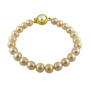 Jagdamba,Avsar,Lime,Kiara,Asmi Women's Clothing - Sri Jagdamba Pearls Single Line Peach Pearl Bracelet ( JPNMA-2635_2018 )