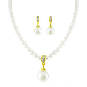 Jpearls Graceful Diamond Pearl Pendant Set