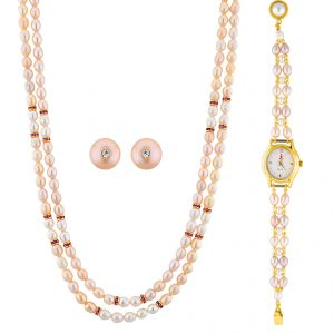 Jpearls Pink Pearl Necklace Set With Watch