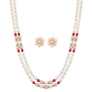 Jagdamba Necklace Sets (Imitation) - Sri Jagdamba Pearls Humiliating Pearl Necklace Set ( JPNOV-15-007 )
