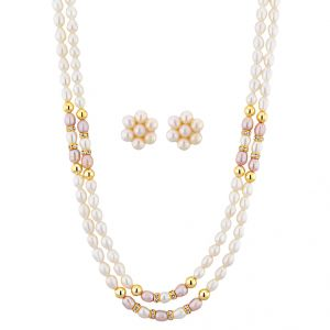Jagdamba,Avsar,Lime,Valentine,Platinum Women's Clothing - Sri Jagdamba Pearls 2 Line Pearl Necklace Set ( JPNOV-15-008 )