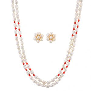 Pick Pocket,Jagdamba Women's Clothing - Sri Jagdamba Pearls Innovative Pearl Necklace Set ( JPNOV-15-009 )