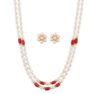Sri Jagdamba Pearls Modern Pearl Necklace Set ( Jpnov-15-010 )