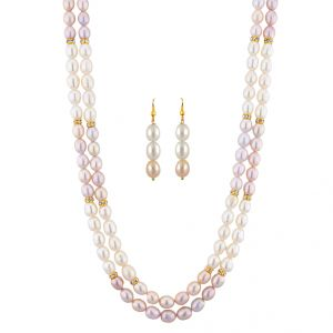 Kiara,La Intimo,Shonaya,Avsar,Valentine,Jagdamba,Pick Pocket,Oviya,Ag Women's Clothing - Sri Jagdamba Pearls Fresh Pearl Necklace Set ( JPNOV-15-011 )