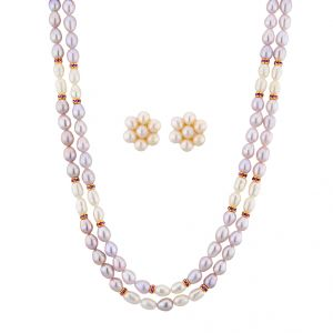 Vipul,Surat Tex,Avsar,Lime,Sukkhi,Jagdamba Women's Clothing - Sri Jagdamba Pearls Crisp Pearl Necklace Set ( JPNOV-15-012 )