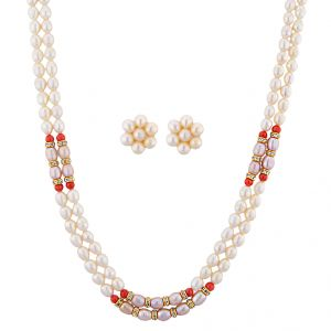 Jagdamba,Clovia,Vipul,Kiara,Flora,Surat Diamonds Women's Clothing - Sri Jagdamba Pearls Crunchy Pearl Necklace Set ( JPNOV-15-013 )