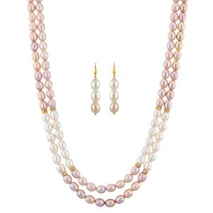 jagdamba,surat diamonds,valentine Fashion, Imitation Jewellery - Sri Jagdamba Pearls Crusty Pearl Necklace Set ( JPNOV-15-014 )