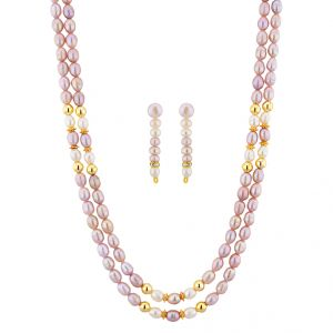 jagdamba,surat diamonds,valentine Necklace Sets (Imitation) - Sri Jagdamba Pearls Devastating Pearl Necklace Set ( JPNOV-15-015 )