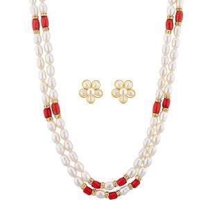 Jagdamba,Avsar,Lime,Flora,Ag Women's Clothing - Sri Jagdamba Pearls Destructive Pearl Necklace Set ( JPNOV-15-016 )