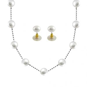Jpearls White Pearl Chain Set