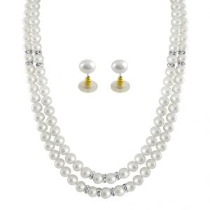 Jagdamba,Surat Diamonds,Sparkles Women's Clothing - Sri Jagdamba Pearls White 2 Line Pearl Necklace ( JPSEP-062 )