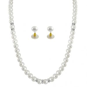 Hoop,Unimod,Clovia,Jagdamba Women's Clothing - Sri Jagdamba Pearls White Single Line Pearl Necklace ( JPSEP-063 )