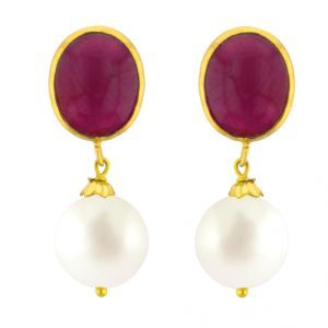 Rcpc,Ivy,Pick Pocket,Jagdamba Women's Clothing - JPEARLS RUBY & PEARL GOLD EARRING