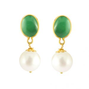 Jpearls Emeralds & Pearl Gold Earring