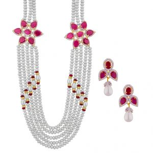 lime,surat tex,soie,jagdamba Pearl Necklaces - JPEARLS CLASSIC PEARL NECKLACE