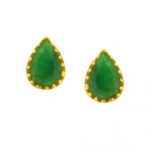 Gold Earrings - JPEARLS EMERALD GOLD HANGINGS