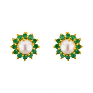 Jagdamba,Kalazone,Flora,Vipul,Jpearls,Sangini Women's Clothing - Sri Jagdamba Pearls  Green Earrings ( JPSEP-15-188 )