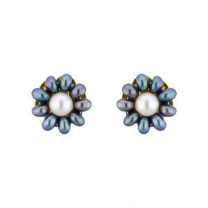 Kiara,Jagdamba,Platinum Women's Clothing - Sri Jagdamba Pearls Grey Flower Ear Rings ( JPSEP-15-191 )