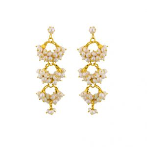 lime,surat tex,jagdamba,sangini Earrings (Imititation) - Sri Jagdamba Pearls Triple Hangings ( JPSEP-15-201 )