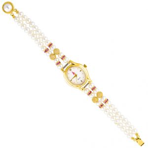 Jagdamba Watches for Women   Round Dial   Analog (Misc) - Jpearls  Glittery  Pearl Watch